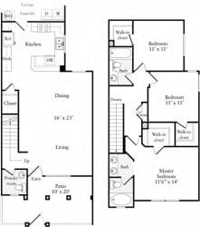 3 Bed 2 Bath 1329 square feet floor plan Townhouse
