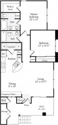 2 Bed 2 Bath 1001 square feet floor plan Plan A