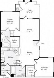 2 Bed 2 Bath 1003 square feet floor plan Plan B