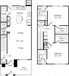 2 Bed 2.5 Bath 1102 square feet floor plan Townhouse