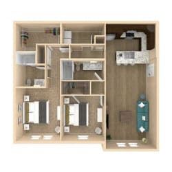3d 2 Bed 2 Bath 1181 square feet floor plan Serenity