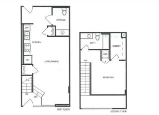 1st and 2nd floor 1 Bed 1 Bath 787 square feet floor plan Loft 2