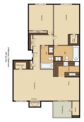 Floor Plan 2 Bedroom 2 Bathroom