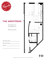 1 Bed 1 Bath 794 square feet floor plan The Armstrong