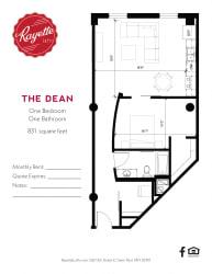1 Bed 1 Bath 831 square feet floor plan The Dean