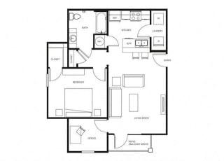 1 Bed, 1 Bath, 748 sq. ft. A2