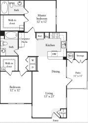 2 Bed 2 Bath 1015 square feet floor plan Plan C