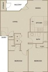 2 Bed 1 Bath 901 square feet floor plan B1A