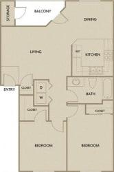 2 Bed 1 Bath 901 square feet floor plan B1B