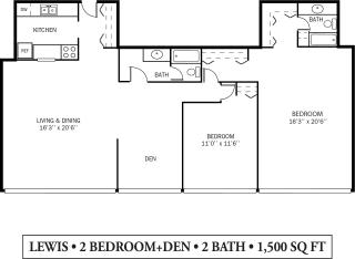 Kellogg Square Apartments in St. Paul, MN 2 Bedroom Den 2 Bath Apartment