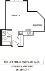 Red Lake Floor Plan Galtier Towers Apartments in Lowertown, St. Paul, MN Studio Apartment