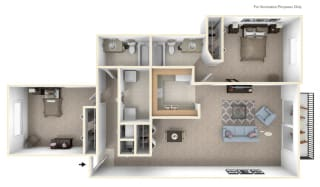 2-Bed/2-Bath, Lupine Floor Plan at Timberlane Apartments, Peoria