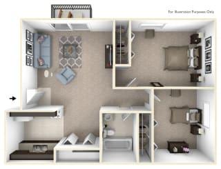 2-Bed/1-Bath, Marigold Floor Plan at Timberlane Apartments, Peoria, IL