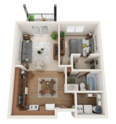 1 bedroom 3D layout