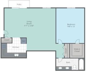One bedroom, one bathroom two dimensional floor plan.
