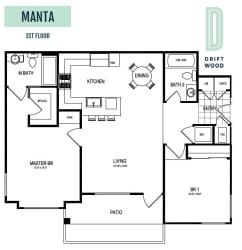 Manta 1st Floor - 2 Bedroom 2 Bath Floor Plan Layout - 1025 Square Feet