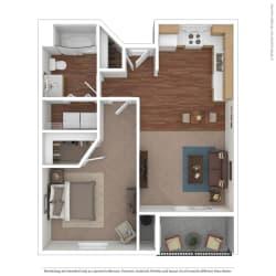 Rose Cove 1 Bedroom Floor Plan Image