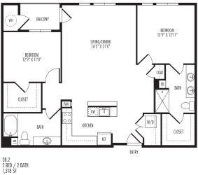 TriVista on Speer 2B2 Floor Plan