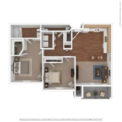 Rose Cove 2 Bedroom Floor Plan Image