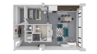 Mission Lofts Apartments Idea 3D Live and Work Floor Plan