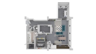Mission Lofts Apartments Objective 3D Work, Live, and Study Floor Plan
