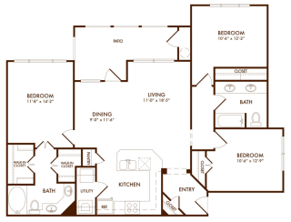Hudson Miramont Apartments C1 Floor Plan