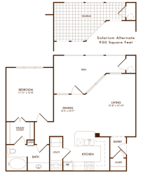 Hudson Miramont Apartments A2 Floor Plan