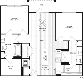 2 Bedrooms A and 2 Bathrooms Floor Plans at The Crest Apartments at Flowery Branch, Flowery Branch