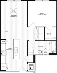 1 Bedroom A 1 Bath Floor Plan at The Crest Apartments at Flowery Branch, Georgia, 30542