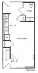 1st Floor 1 Bed 1 Bath 787 square feet floor plan Loft 2