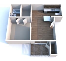 A1 One Bed One Bath Floorplan at Autumn Park, Texas, 77904