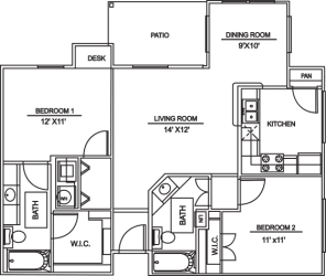 Floor Plan B2 - 2bed/2bath