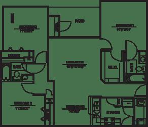 Floor Plan C1 - 3bed/2bath