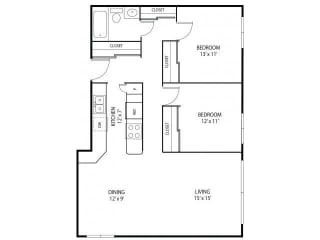 Minnehaha Manor Apartments in Oakdale, MN 2 Bedroom 1 Bathroom