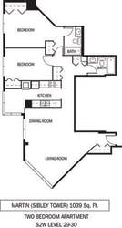 Martin Floor Plan Galtier Towers Apartments in Lowertown, St. Paul, MN 2 Bedroom 2 Bath Apartment