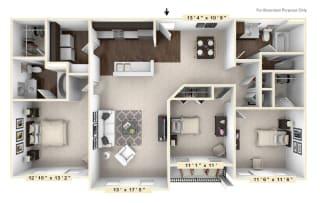 The Burgundy - 3 BR 2 BA Floor Plan at Bella Vista Apartments, Fishers