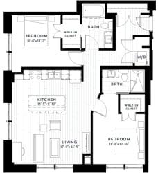 2G Floor plan at Custom House, Minnesota, 55101