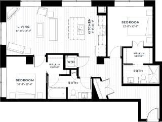 2H Floor plan at Custom House, St. Paul, 55101