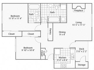 2 Bedroom_2 BathroomCanterberry   Windsor Apartments For Rent in Renton, WA 98059
