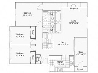 3 Bedroom_2Bathroom_Monarch | Windsor Apartments For Rent in Renton, WA 98059