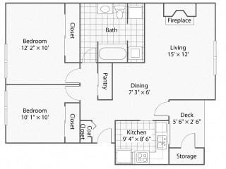 2 Bedroom_1 Bathroom_Winchester   Windsor Apartments For Rent in Renton, WA 98059
