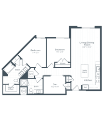 BD1 Floor Plan at Highgate at the Mile, Virginia, 22102