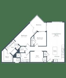 BD2 Floor Plan at Highgate at the Mile, McLean, Virginia