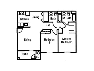 2 Bedroom 2 Bath floor plan, 933 square feet with patio