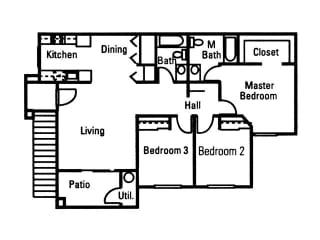 3 Bedroom 2 Bath floor plan, 1,148 square feet with patio