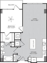 A1b One Bedroom Floor Plan with Balcony at Apartments in Vinings