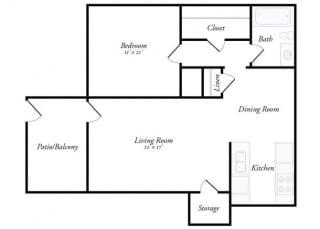 Floor Plan M - 1 Bed / 1 Bath