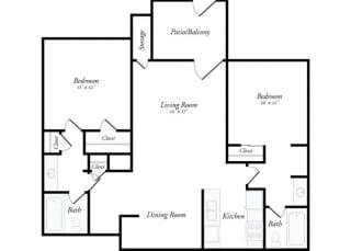 Floor Plan M - 2 Bed / 2 Bath