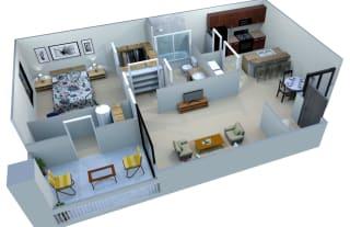 San Portella Apartments 1 Bedroom 1 Bath Floor Plans 1B Tempe, Arizona