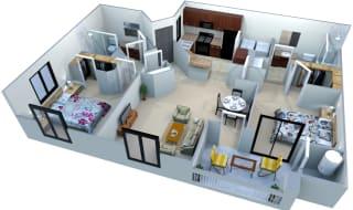 San Portella Apartments 2 Bedroom 2 Bath Floor Plans Tempe, Arizona